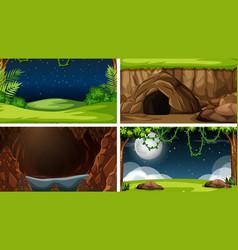 set nature landscape vector image