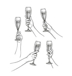 set of hands with champagne glasses vector image