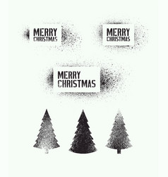 set of stencil splash christmas elements vector image