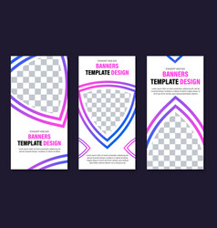 set of vertical web banners of white color with vector image