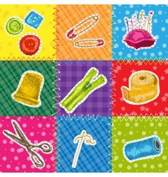 Sewing patchworks set vector image