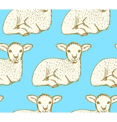 Sketch cute lamb in vintage style vector image
