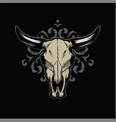 skull a bull on a pattern on a dark background vector image