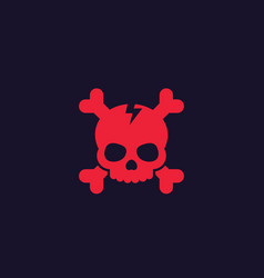 skull and bones icon red on dark vector image