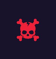 Skull and bones icon red on dark vector