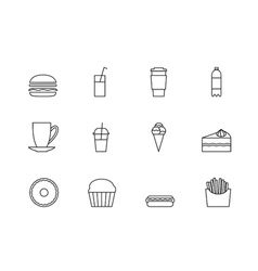snacks desserts and beverage outline icon set vector image