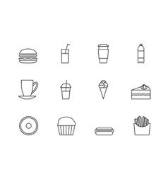 Snacks desserts and beverage outline icon set vector