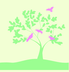 Spring with doves on tree vector