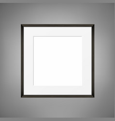 Square blank picture frame on grey wall vector