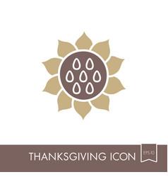 Sunflower icon harvest thanksgiving vector