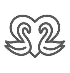 swans line icon romance and love swans and heart vector image