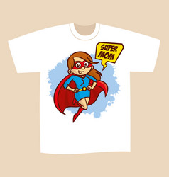 T-shirt print design superhero mom vector