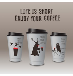 Take-out coffee in thermo cup Enjoy your coffee vector image