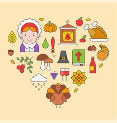 Thanksgiving icon arrange as heart shape for use vector