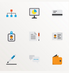 trade icons flat style set with analytics vector image