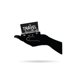Travel destination in bag on hand vector