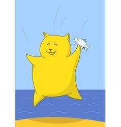 Triumphant fidget with a fish vector