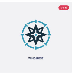 two color wind rose icon from nautical concept vector image