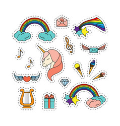 unicorn with closed eyes harp musical notes vector image