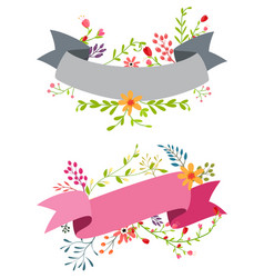 Vintage flower banner with ribbon vector