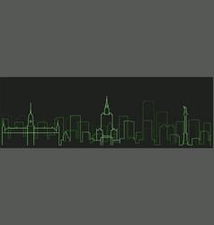 warsaw futurist technology light trace skyline vector image