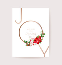 winter floral wreath poinsettia card christmas vector image