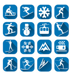 Winter sport icon with long shadow vector