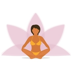 Woman is doing yoga and sitting in the lotus vector image