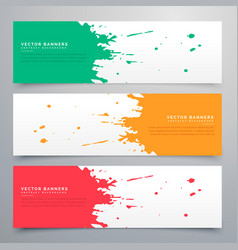 abstract ink splatter banners set background vector image