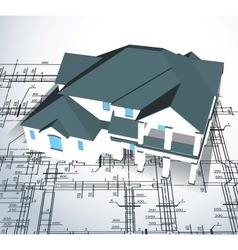 Architectural house technical draw vector image vector image