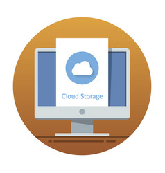 cloud storage icon on the monitor screen flat vector image vector image