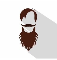Men hairstyle with beard and mustache icon vector