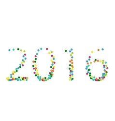 New year 2016 lettering colourful confetti vector image