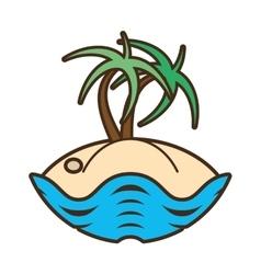 palm tree sand beach island vector image
