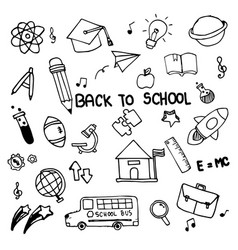 Set of hand drawn doodle icons back to school on vector