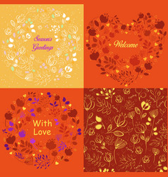 yellow and orange floral patterns set vector image vector image