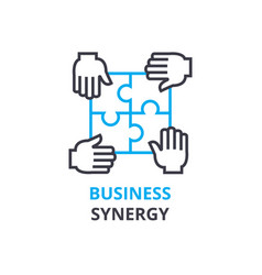 business synergy concept outline icon linear vector image vector image