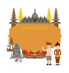 indonesia landmarks frame vector image vector image