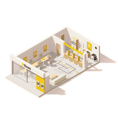 isometric low poly bank interior vector image