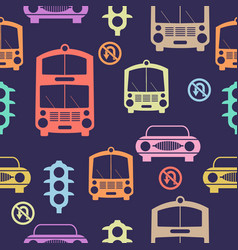 seamless cars pattern vector image