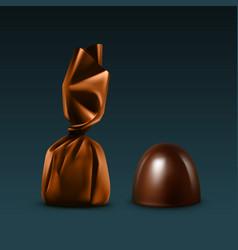 set of dark black bitter chocolate candies in foil vector image