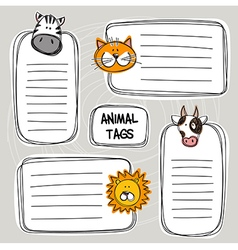set of hand drawn doodle tags with animals sketch vector image