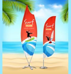 surf club 2 advertsement beach banners vector image
