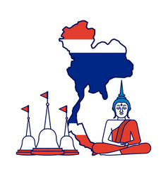 thailand concept buddha temple flag map vector image