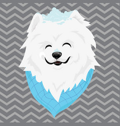 a cartoon portrait of a white dog with snow on his vector image