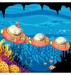 Children riding submarine underwater vector image vector image