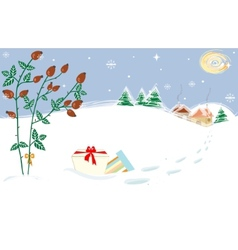 Christmas Landscape Briar Presents Starry Night vector image