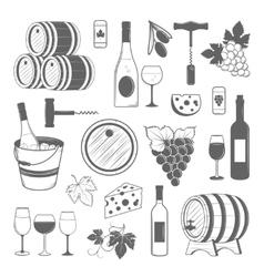 Elegant wine set of vintage elements isolated on vector image