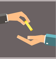 hand giving gold coin to another hand flat vector image