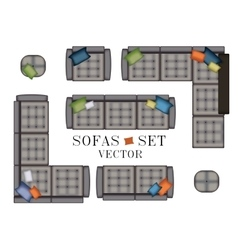 Sofas Armchair Set Top view Furniture with vector image vector image